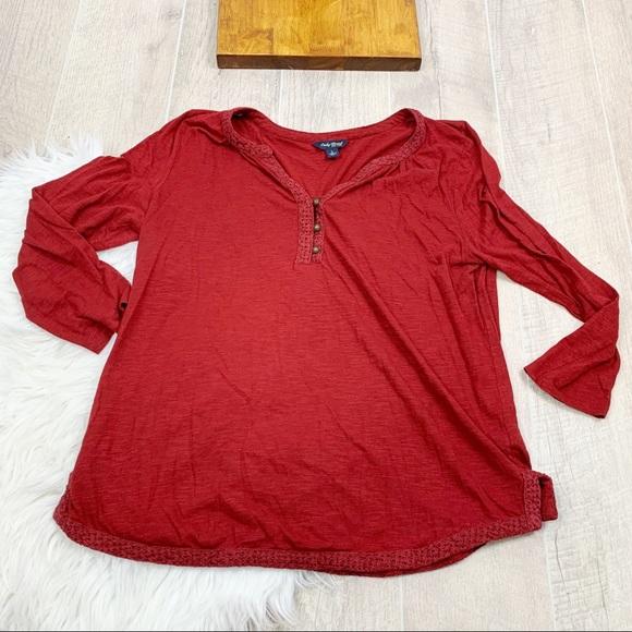 Lucky Brand Tops - Lucky Brand Red Long Sleeve Button Henley Top 3115